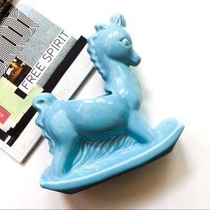 1960's Ceramic Rocking Horse Planter Vase